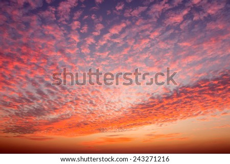 Sky sunset with beautiful orange clouds - stock photo