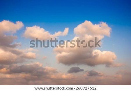 sky texture pastel - sunset sky with beautiful clouds. - stock photo