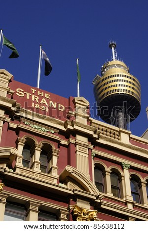 Sky tower in Sydney city centre New South Wales Australia - stock photo