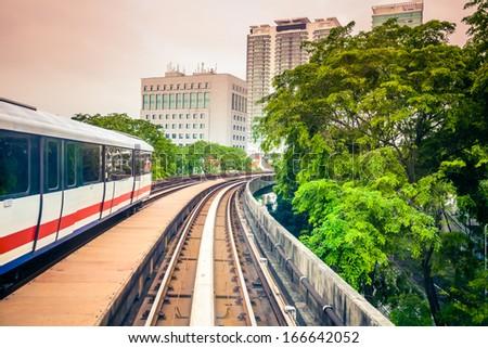 Sky train through the city center in Kuala Lumpur - stock photo