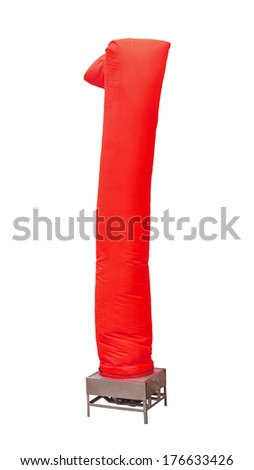 sky tube balloon display stand on white background,red color