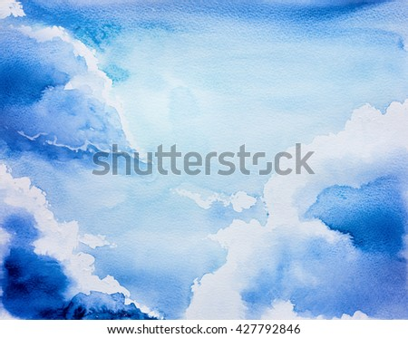 sky watercolor - stock photo