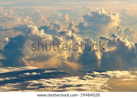 Sky with cloud top view - stock photo