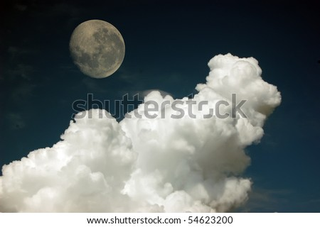 Sky with clouds and Moon - stock photo