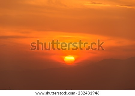 sky with clouds and sun - stock photo