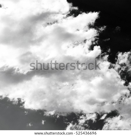 sky with clouds, black and white background
