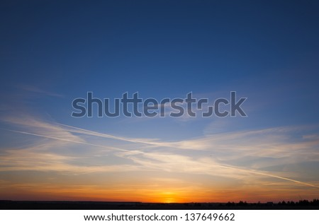 sky with clouds in the evening - stock photo