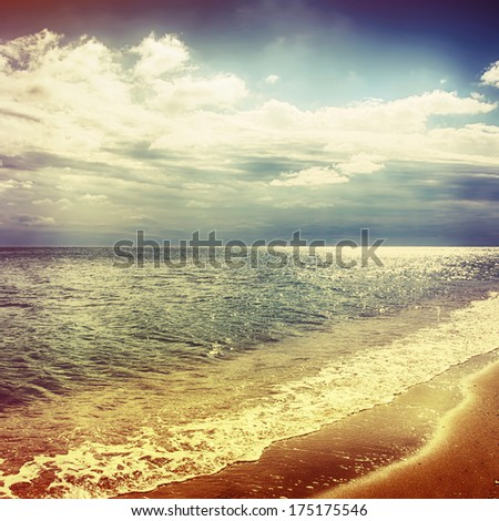 Sky with dramatic clouds over the sea - stock photo
