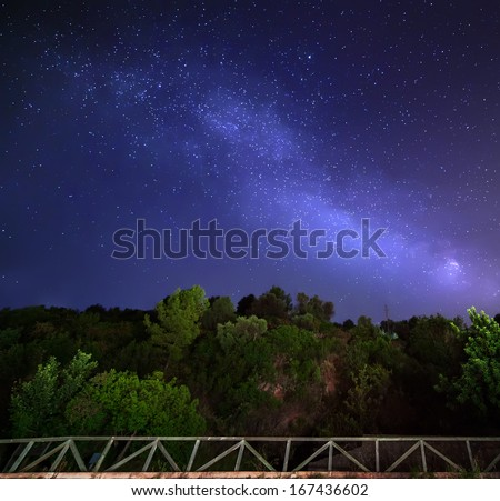 Sky with stars in night, landscape - stock photo