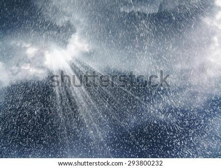Sky with sun shine through the cloud and sun beam - stock photo