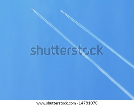 sky with twin jet contrails background