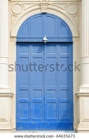 Skyblue door - stock photo