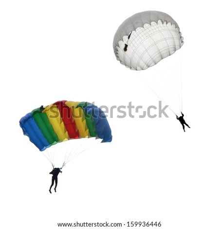 Skydivers on white background - stock photo