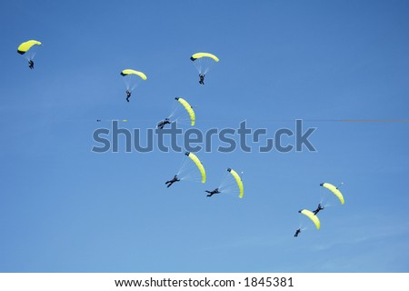 Skydivers participating in an international competition.