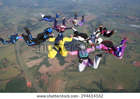 Skydiving extreme sports formation - stock photo