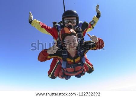 Skydiving photo. Tandem. - stock photo