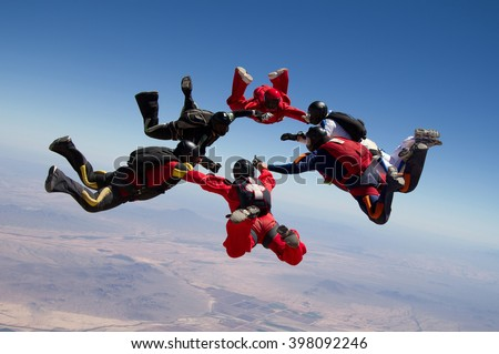 Skydiving star teamwork - stock photo