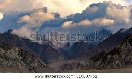 Skylight and Cloudy with Himalayan mountains landscape.