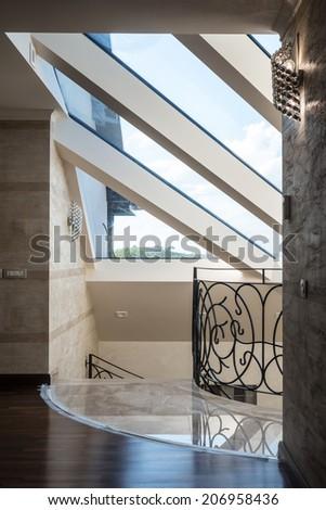Skylight in modern home interior - stock photo