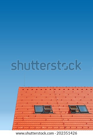skylights on the roof, red plain tiles - stock photo