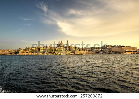 Skyline and waterfront of Valletta, the capital city of the island Malta