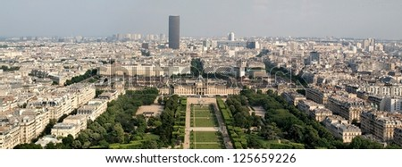 skyline cityscape view of champ de mars park with ecole militaire (military school).
