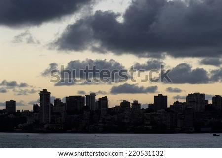 Skyline from Marine Drive in Mumbai. - stock photo