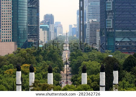 Skyline in Mexico City, view from the Chapultepec Castle - stock photo