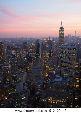 Skyline Manhattan at sunset, Rockefeller Center