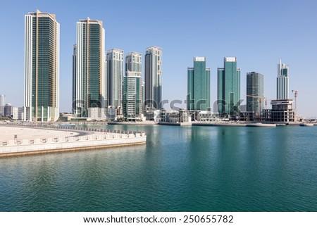 Skyline of Al Maryah Island in Abu Dhabi, United Arab Emirates - stock photo
