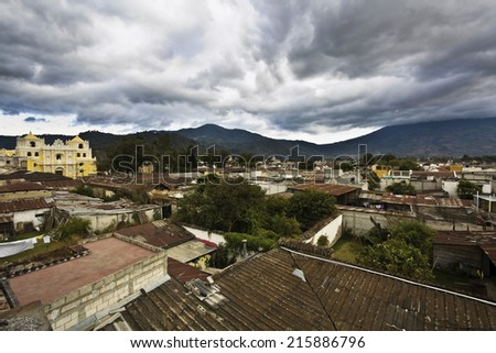 Skyline of Antigua, Guatemala. - stock photo