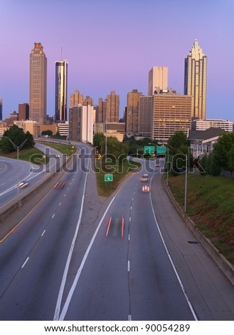 skyline of atlanta georgia usa - stock photo
