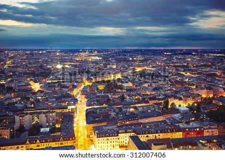 Skyline of Berlin at the night, Germany  - stock photo