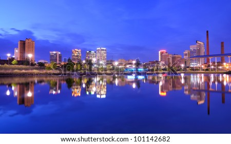 Skyline of Birmingham, Alabama from Railroad Park. - stock photo