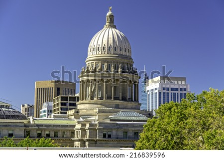Skyline of Boise Idaho with capital building - stock photo