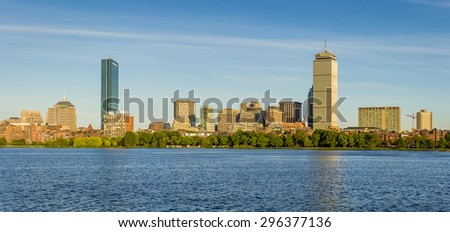 Skyline of Boston in Massachusetts, USA at Back Bay by the Charles River on a sunny summer day. - stock photo