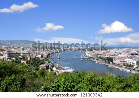 skyline of budapest and river danube in summer - stock photo