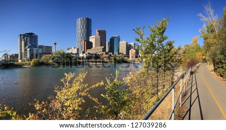 Skyline of Calgary with Bow River, Alberta, Canada - stock photo