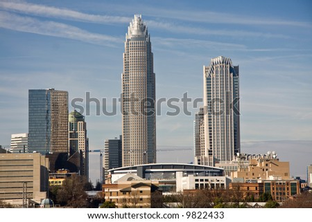 Skyline of Charlotte Towers and Bobcats Arena - stock photo