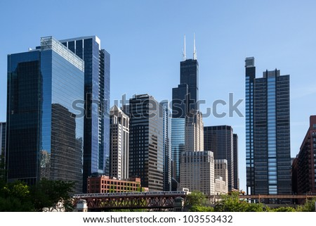 Skyline of Chicago from the river with Willis tower in distance