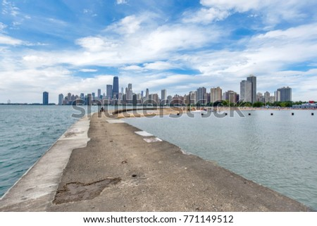 Skyline of Chicago, Illinois from North Avenue Beach on Lake Michigan