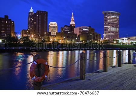 Skyline of Cleveland, Ohio, USA - stock photo
