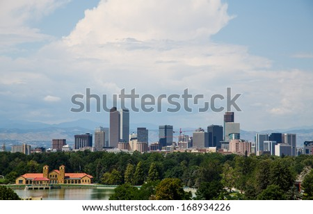 Skyline of Denver, Colorado Beyond a Green Park - stock photo