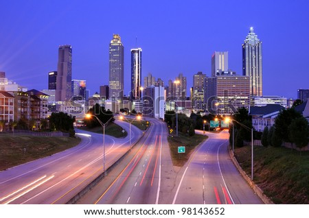 Skyline of Downtown Atlanta, Georgia above Freedom Parkway at twilight. - stock photo