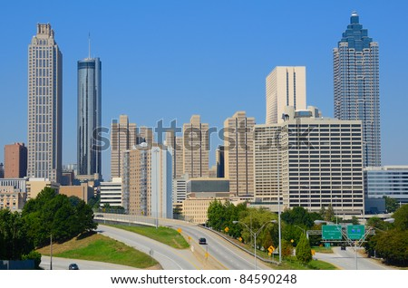 Skyline of downtown Atlanta, Georgia from above Freedom Parkway.