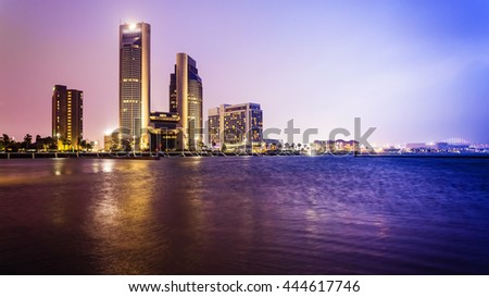 Skyline of downtown Corpus Christi, Texas at night