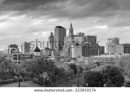 Skyline of downtown Hartford, Connecticut from above Charter Oak Landing in black and white - stock photo