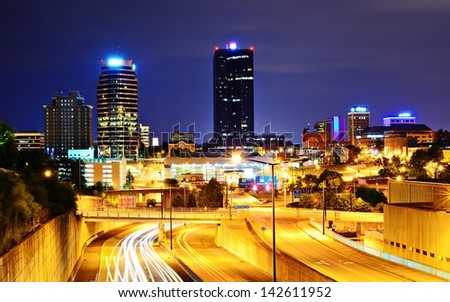 Skyline of downtown Knoxville, Tennessee, USA. - stock photo