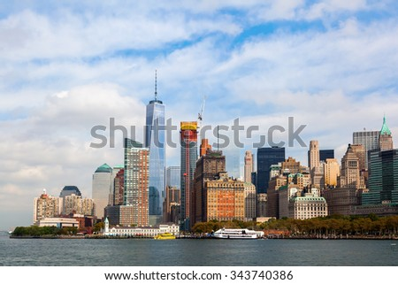 skyline of downtown Manhattan seen from Hudson River, Manhattan, New York City