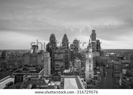 Skyline of downtown Philadelphia at sunset - stock photo